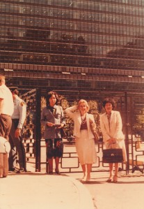 With two colleagues, all chemists in front of the UN Building