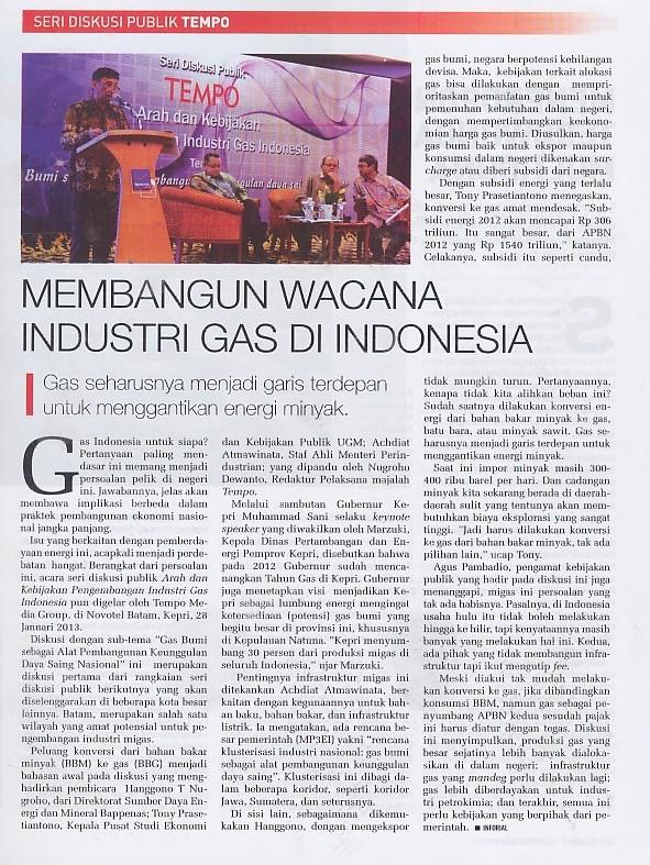 Membangun Wacana Industri Gas di Indonesia